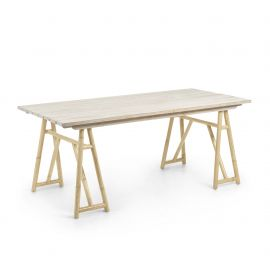 Mese - Masa din lemn si ratan pentru interior si exterior CREASSY, 180x85cm