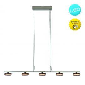 Pendule, Lustre suspendate - Lustra LED dimabila cu 5 spoturi din lemn, Triberg