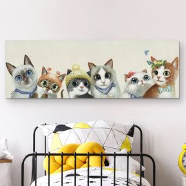 Tablouri - Tablou decorativ cu pisici Miau, 150x50cm