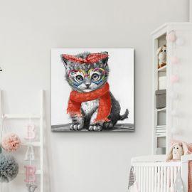 Tablou decorativ cu pisica Kitty, 50x50cm