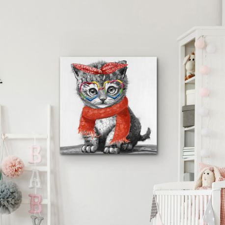 Tablouri - Tablou decorativ cu pisica Kitty, 50x50cm