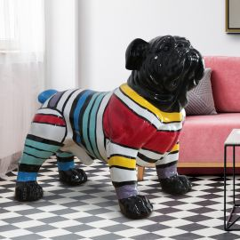 Figurina decorativa caine Bulldog XXL negru/multicolor