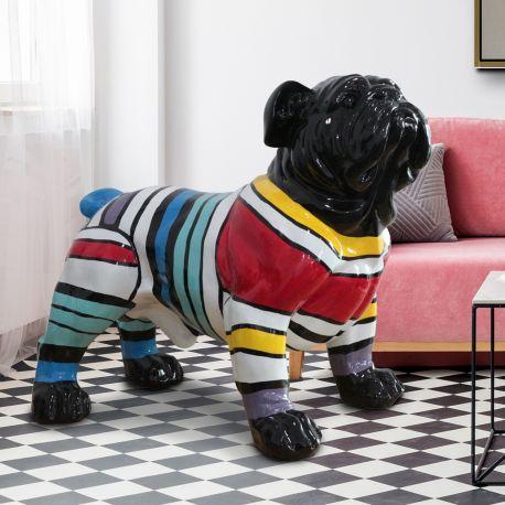 Statuete  - Figurina decorativa caine Bulldog XXL negru/multicolor
