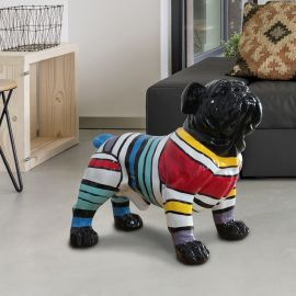 Statuete - Figurina decorativa caine Bulldog XL negru/multicolor