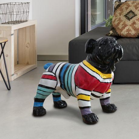 Statuete - Figurina decorativa caine Bulldog XL negru/multicolor