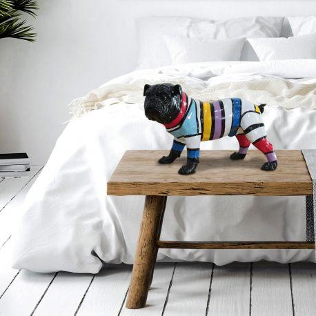 Statuete - Figurina decorativa caine Bulldog S negru/multicolor
