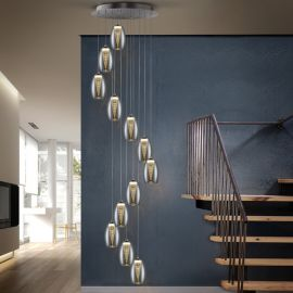 Lustra LED casa scarii cu 12 pendule, dimabila cu telecomanda Nebula