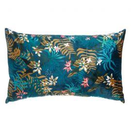 Textile - Perna albastra cu motiv floral FLOWERS, 50x30cm