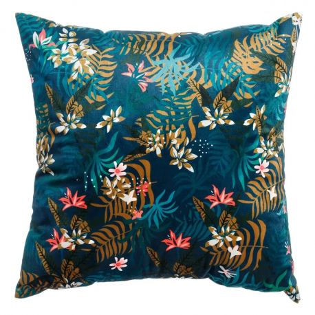 Textile - Perna albastra cu motiv floral FLOWERS, 45x45cm