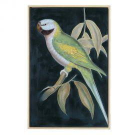 Tablou decorativ, pictura pe panza Papagal negru-verde, 80x120cm