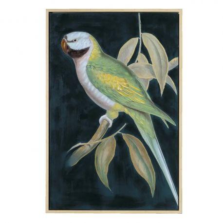 Tablouri - Tablou decorativ, pictura pe panza Papagal negru-verde, 80x120cm