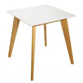 Mese dining - Masa design nordic Scandinavia 70cm, alb/ stejar