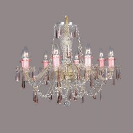 Lustra 8 brate cristal Bohemia, rosaline