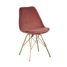Set de 4 scaune Scandinavia Retro, catifea roz antic