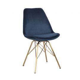 Set de 4 scaune Scandinavia Retro, catifea albastru inchis