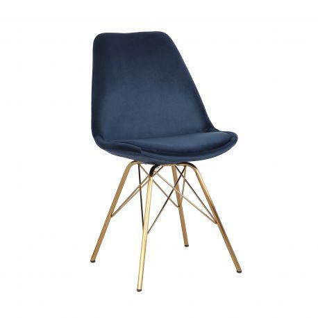 Seturi scaune, HoReCa - Set de 4 scaune Scandinavia Retro, catifea albastru inchis