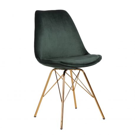 Seturi scaune, HoReCa - Set de 4 scaune Scandinavia Retro, catifea verde inchis