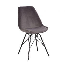 Seturi scaune, HoReCa - Set de 4 scaune Scandinavia Retro, catifea gri argintiu