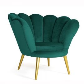 Fotoliu elegant MAGNOLIA catifea verde/ auriu