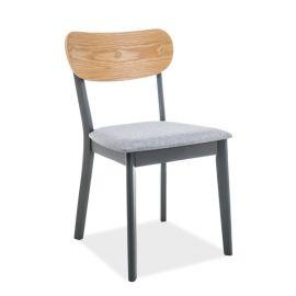 Scaun din lemn cu sezut tapitat VITRO, grafit/ gri/ stejar