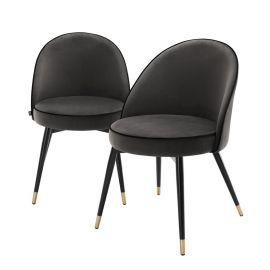 Seturi scaune, HoReCa - Set de 2 scaune Cooper, catifea gri inchis