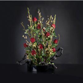 Aranjamente florale LUX - Aranjament floral mare ROSE SCULPTURE TRAY, H-115cm