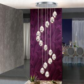 Corpuri de iluminat Lustre pentru casa scarii - Lustra LED dimabila cu telecomanda ROCIO 14L, crom
