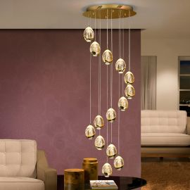 Corpuri de iluminat Lustre pentru casa scarii - Lustra LED dimabila cu telecomanda ROCIO 14L, auriu