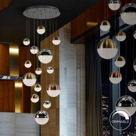 Pendule, Lustre suspendate - Lustra LED dimabila design modern cu 14 pendule Sphere