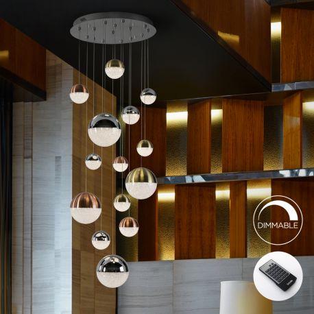 Corpuri de iluminat Lustre pentru casa scarii - Lustra LED dimabila cu telecomanda Sphere 14L