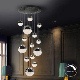 Iluminat interior - Lustra LED dimabila design modern Sphere 14L crom