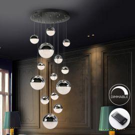 Lustra LED dimabila cu telecomanda Sphere 14L crom