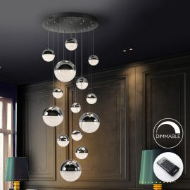 Iluminat interior - Lustra LED dimabila cu telecomanda Sphere 14L crom
