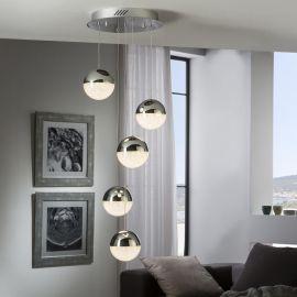 Pendule, Lustre suspendate - Lustra LED dimabila cu 5 pendule Sphere crom