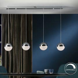 Pendule, Lustre suspendate - Lustra LED dimabila moderna cu 4 pendule Sphere crom