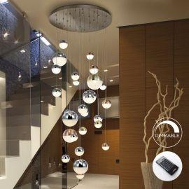 Corpuri de iluminat Lustre pentru casa scarii - Lustra LED dimabila casa scarii XXL cu telecomanda Sphere 27L