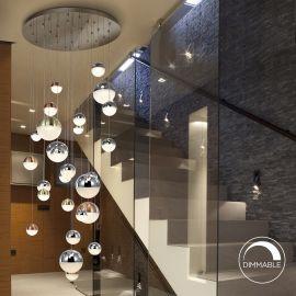 Corpuri de iluminat Lustre pentru casa scarii - Lustra LED dimabila casa scarii XXL design modern cu 27 pendule Sphere