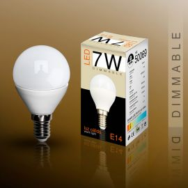 Becuri E14 - Bec LED E14 DIMABIL, 7W 3000K lumina calda Globe mini opal
