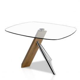 Masa dining design deosebit Walnut and glass, 120x120cm
