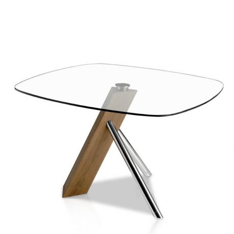 Mese dining - Masa dining design deosebit Walnut and glass, 120x120cm