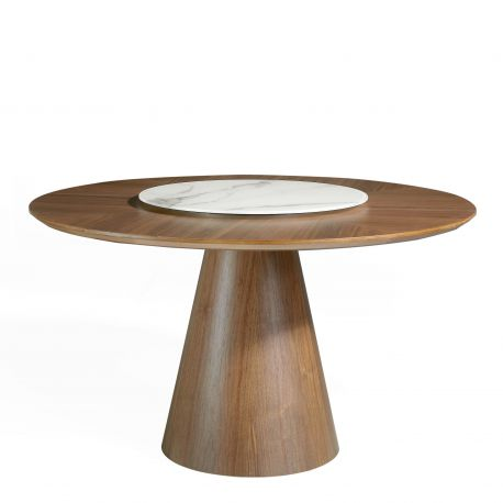 Mese dining - Masa dining cu blat central rotativ Veneer, 135cm