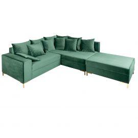 Coltare - Coltar modern, elegant Loft 220cm, catifea verde-smarald
