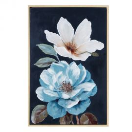 Tablouri - Tablou decorativ Flori negru-albastru, 80x120cm