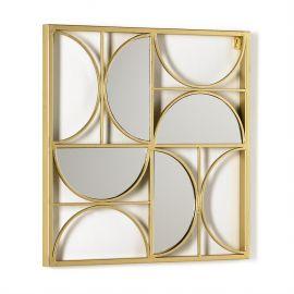 Decoratiuni perete - Decoratiune de perete din metal si oglinda Golden, 50x50cm