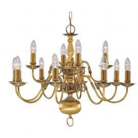 Corpuri de iluminat Lustre pentru casa scarii - Candelabru casa scarii stil clasic Flemish alama 12L