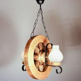 Candelabru rustic fabricat manual din lemn Roata