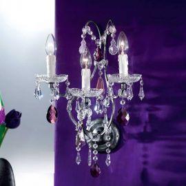 Aplice, corpuri de iluminat pentru pereti - Aplica cristal cu 3 brate Verona antik-silber