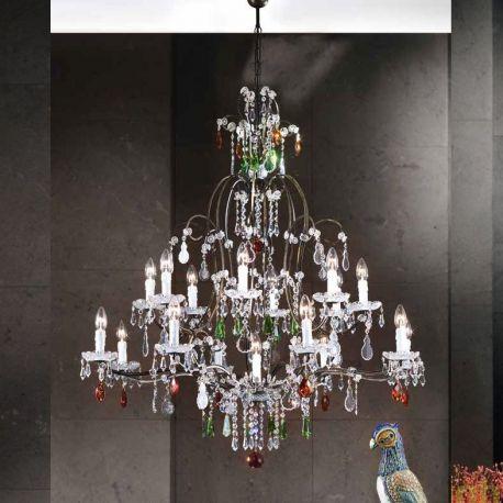 Candelabre, Lustre - Candelabru cristal cu 17 brate Verona antik-gold