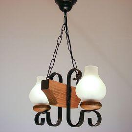 Candelabru rustic fabricat manual din lemn 2 brate Vela