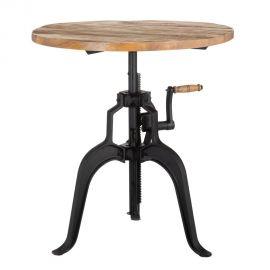 Mese dining - Masa bistro sau bar design industrial style, inaltime reglabila NATURAL-NEGRO 75cm
